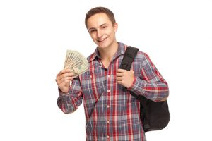 Student with money and shoulder bag