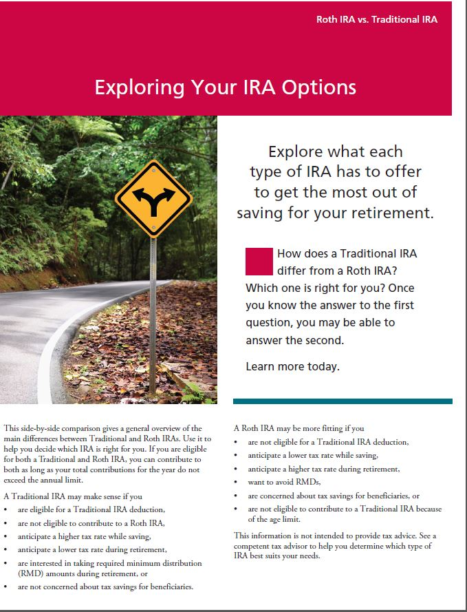 Exploring IRA Options thumbnail for eBrochure